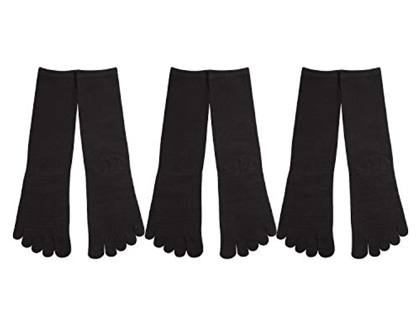 封筒ラップ放散するDeol(デオル) 5本指 靴下 男性用 黒 3足セット 25cm-27cm メンズ [足のニオイ対策] 長時間消臭 日本製 靴下