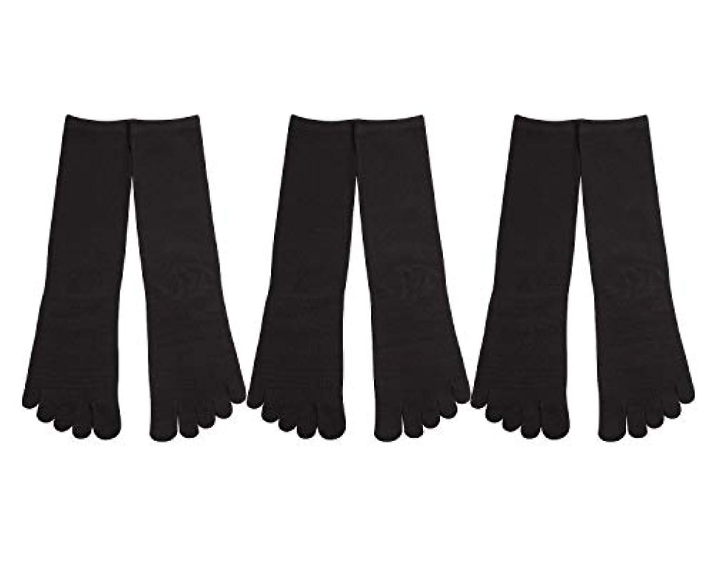 一部締め切り膨張するDeol(デオル) 5本指 靴下 男性用 黒 3足セット 25cm-27cm メンズ [足のニオイ対策] 長時間消臭 日本製 靴下