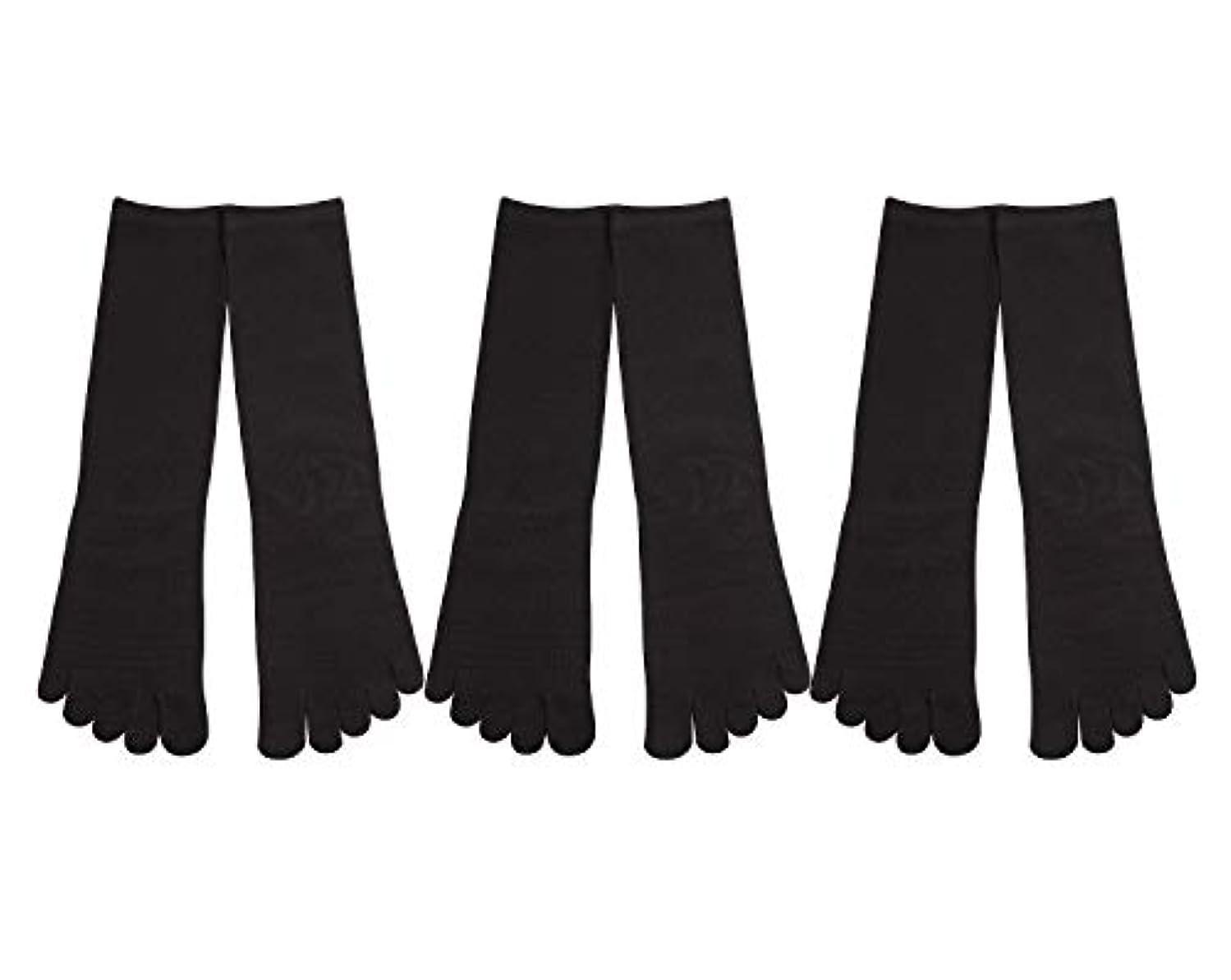 なのでどれアフリカDeol(デオル) 5本指 靴下 男性用 黒 3足セット 25cm-27cm メンズ [足のニオイ対策] 長時間消臭 日本製 靴下