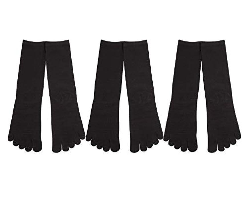 取り壊す経歴寝るDeol(デオル) 5本指 靴下 男性用 黒 3足セット 25cm-27cm メンズ [足のニオイ対策] 長時間消臭 日本製 靴下