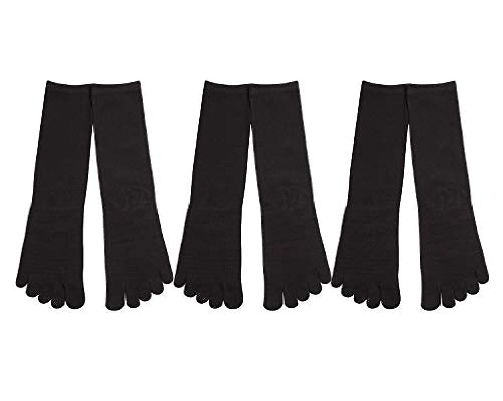 優雅な引き潮南東Deol(デオル) 5本指 靴下 男性用 黒 3足セット 25cm-27cm メンズ [足のニオイ対策] 長時間消臭 日本製 靴下
