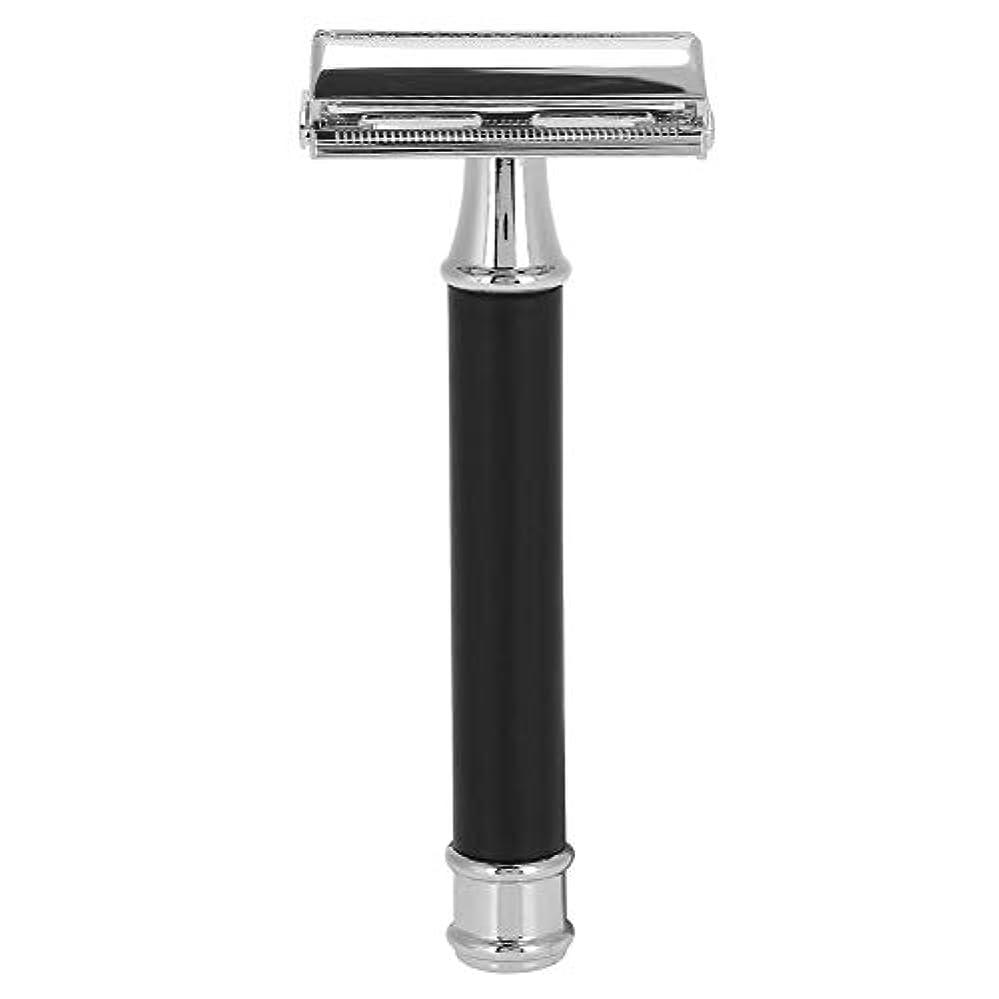 インストラクター立派な鑑定ダブルエッジメンズカミソリ クラシック 安全性 かみそり 滑り止め シェーバー シェービング 毛処理 クロームメッキ ダブルエッジ 男性用かみそり ひげ剃り 再利用可能