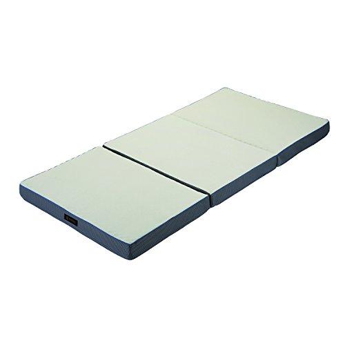 西川 リビング プロファイル 凹凸加工 健康 敷き ふとん RAKURA ラクラ 三つ折れ シングル 90mm シルバー 厚み9 × 幅97 × 長さ200 cm 2460-10342