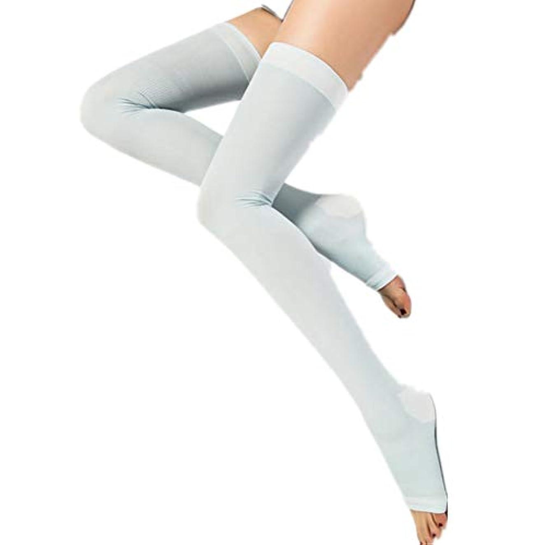 寝ながらメディキュット ロング 着圧 加圧 ソックス 就寝時用 スリム 美脚 靴下 (ブルーショート, M-L)