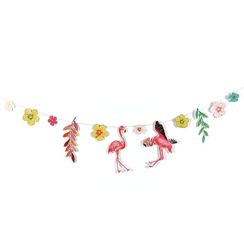 Easy Joy ハワイアン風 フラミンゴ ガーランド【装着済】フラグ インテリア 写真背景 お店の装飾