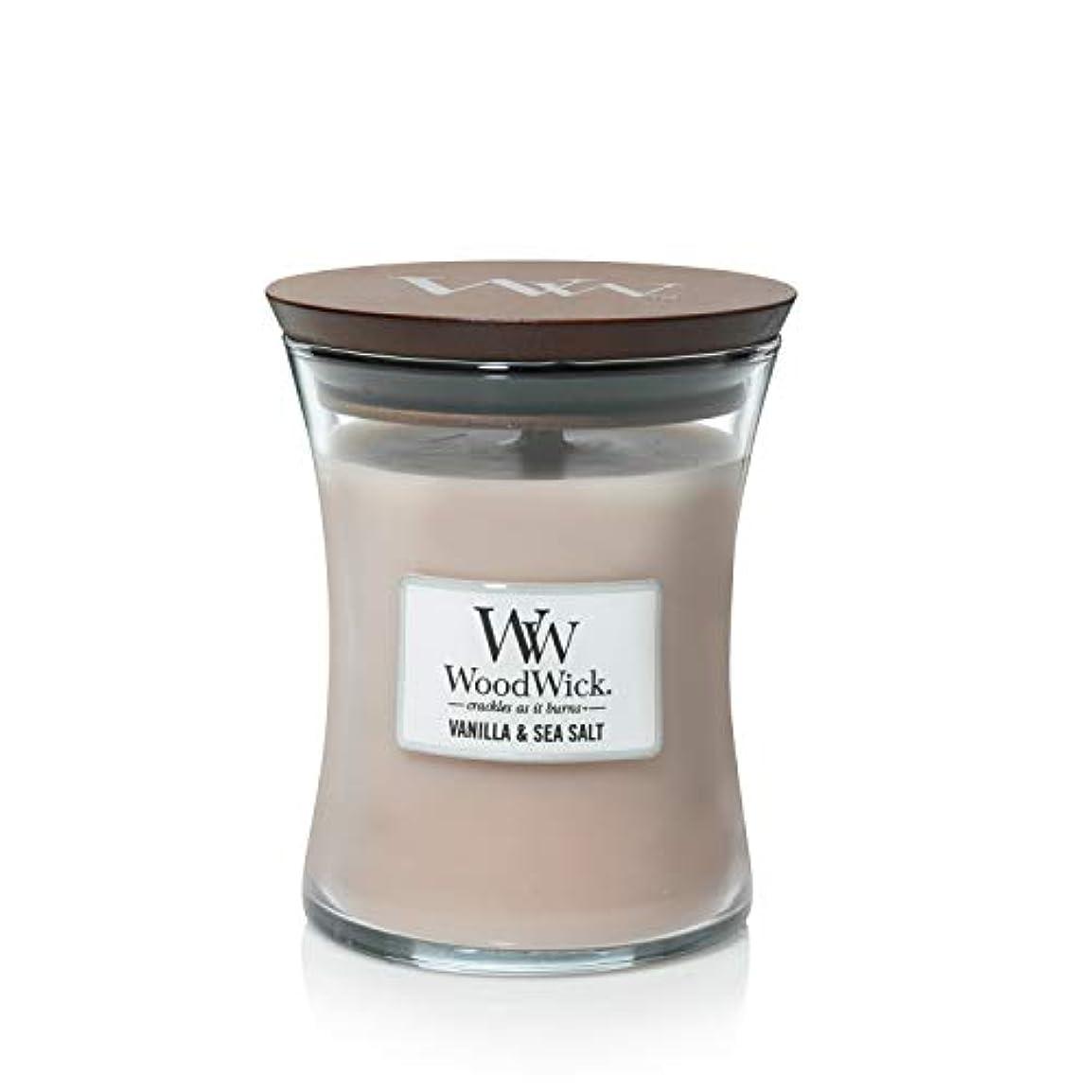 写真の木材家事をするバニラSea Salt WoodWick 10 oz Medium砂時計Jar Candle Burns 100時間
