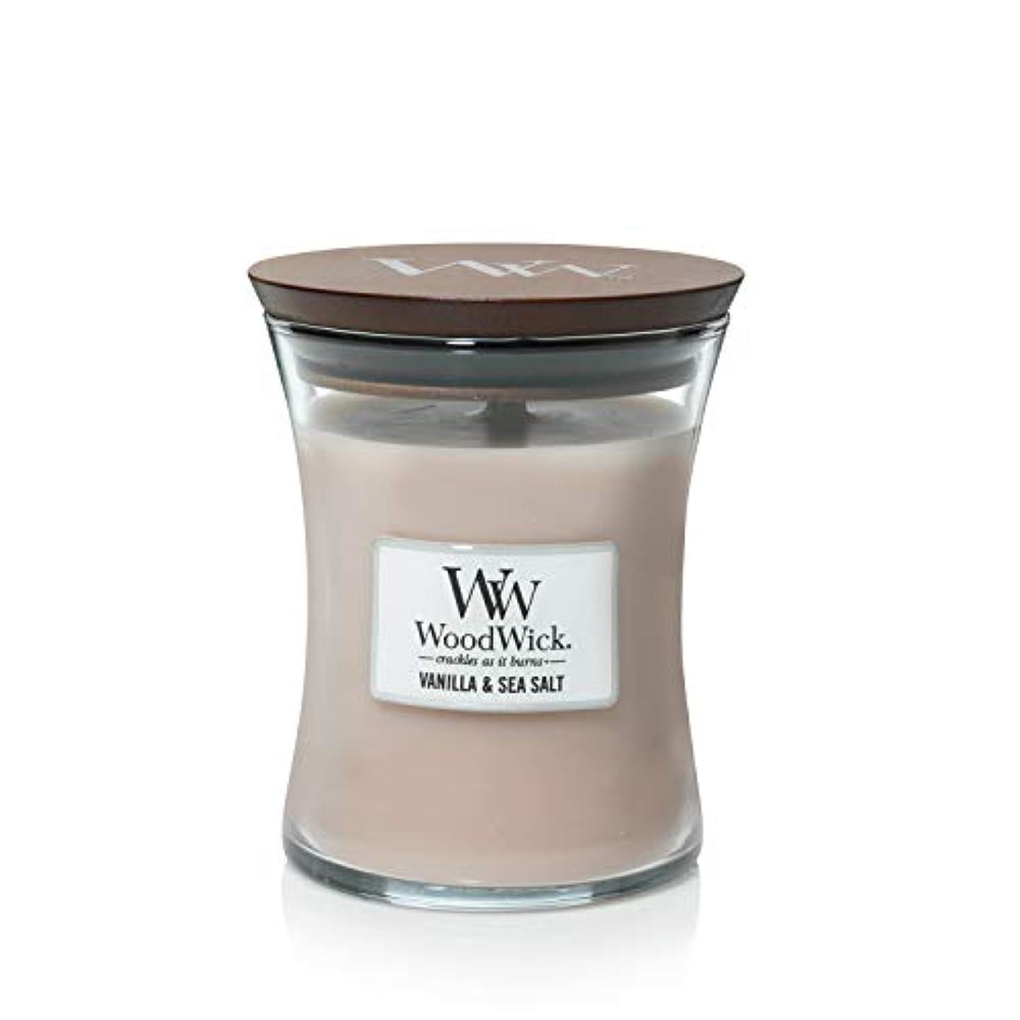 楽観高さ寄付バニラSea Salt WoodWick 10 oz Medium砂時計Jar Candle Burns 100時間