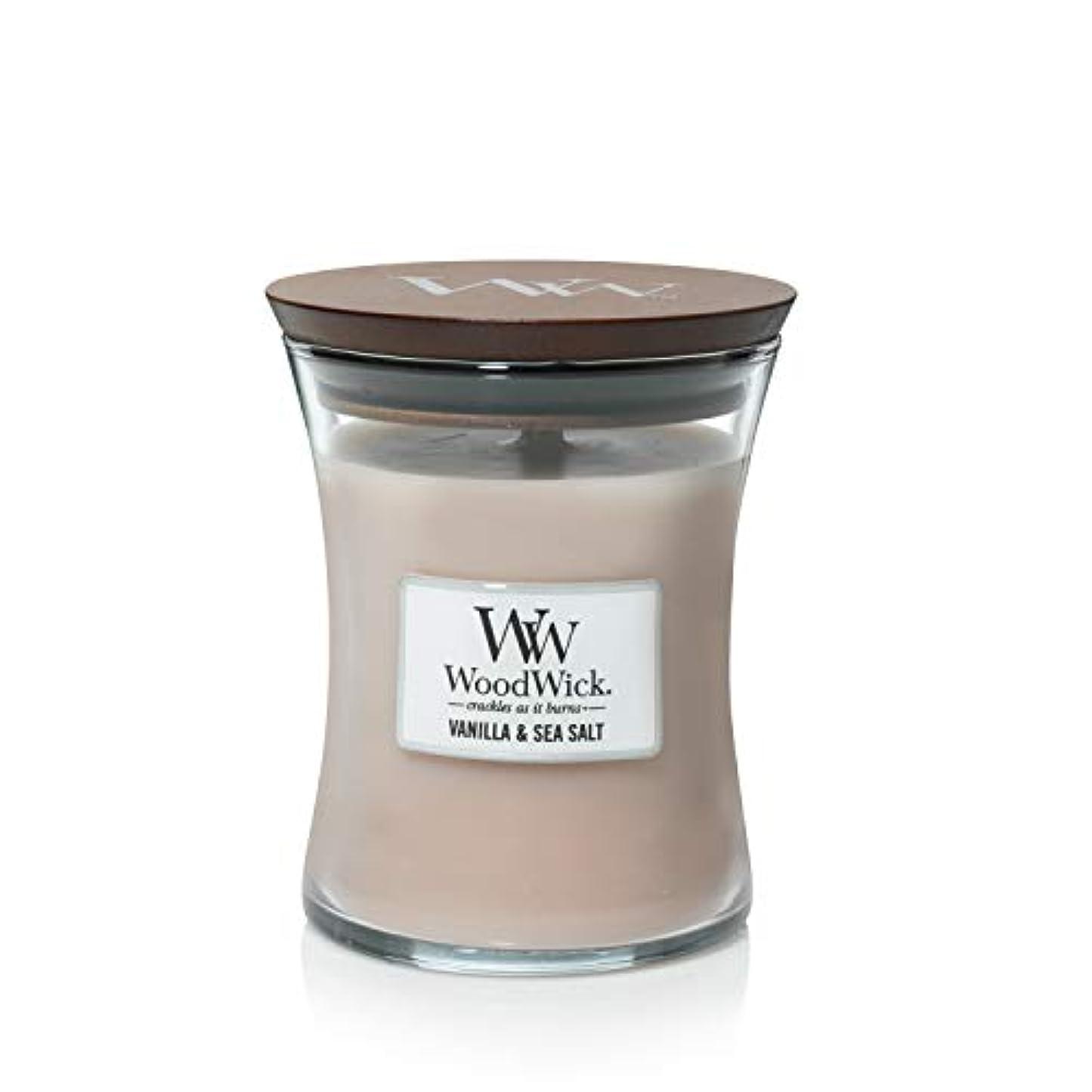 ほとんどない文明化何故なのバニラSea Salt WoodWick 10 oz Medium砂時計Jar Candle Burns 100時間