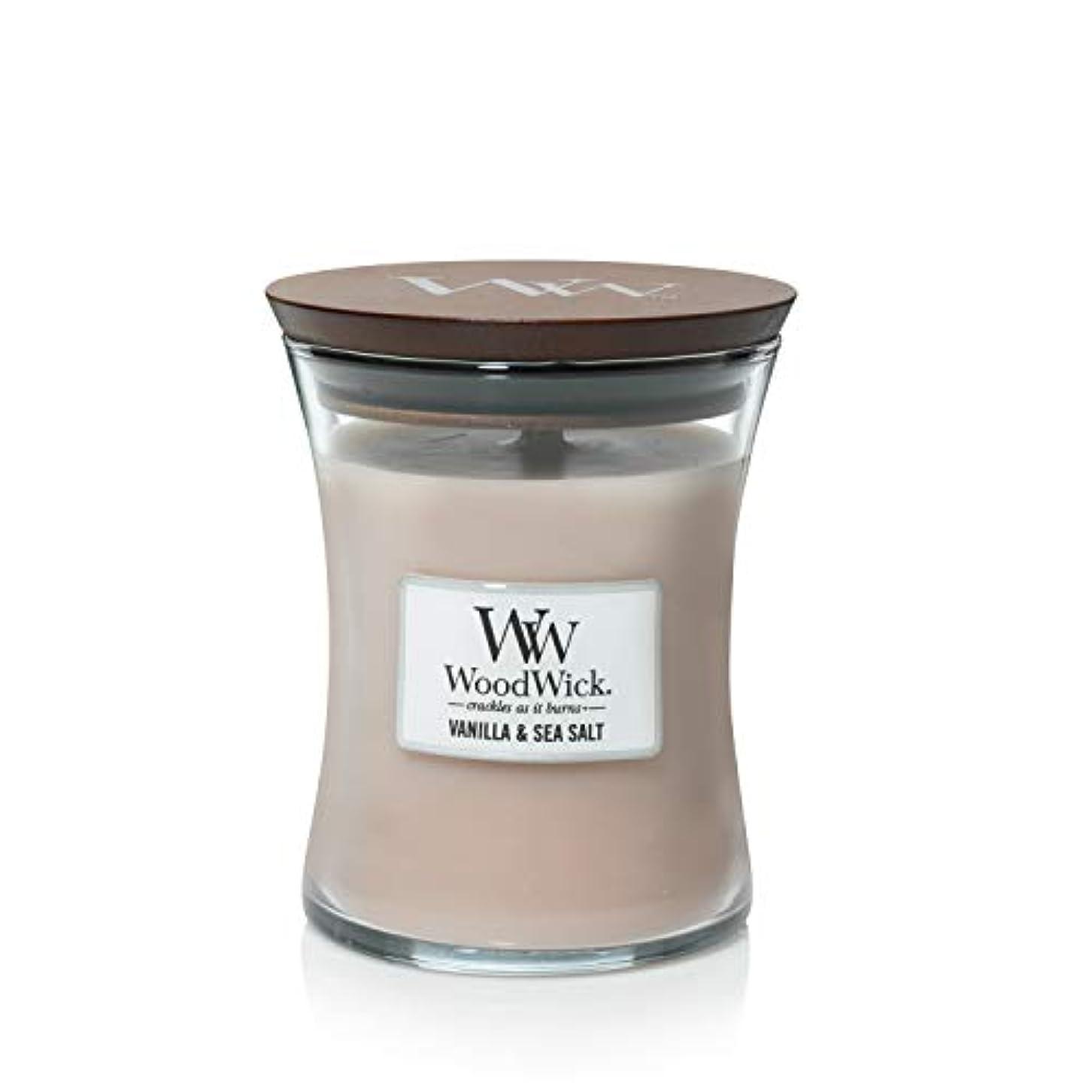 四回アラスカ会議バニラSea Salt WoodWick 10 oz Medium砂時計Jar Candle Burns 100時間