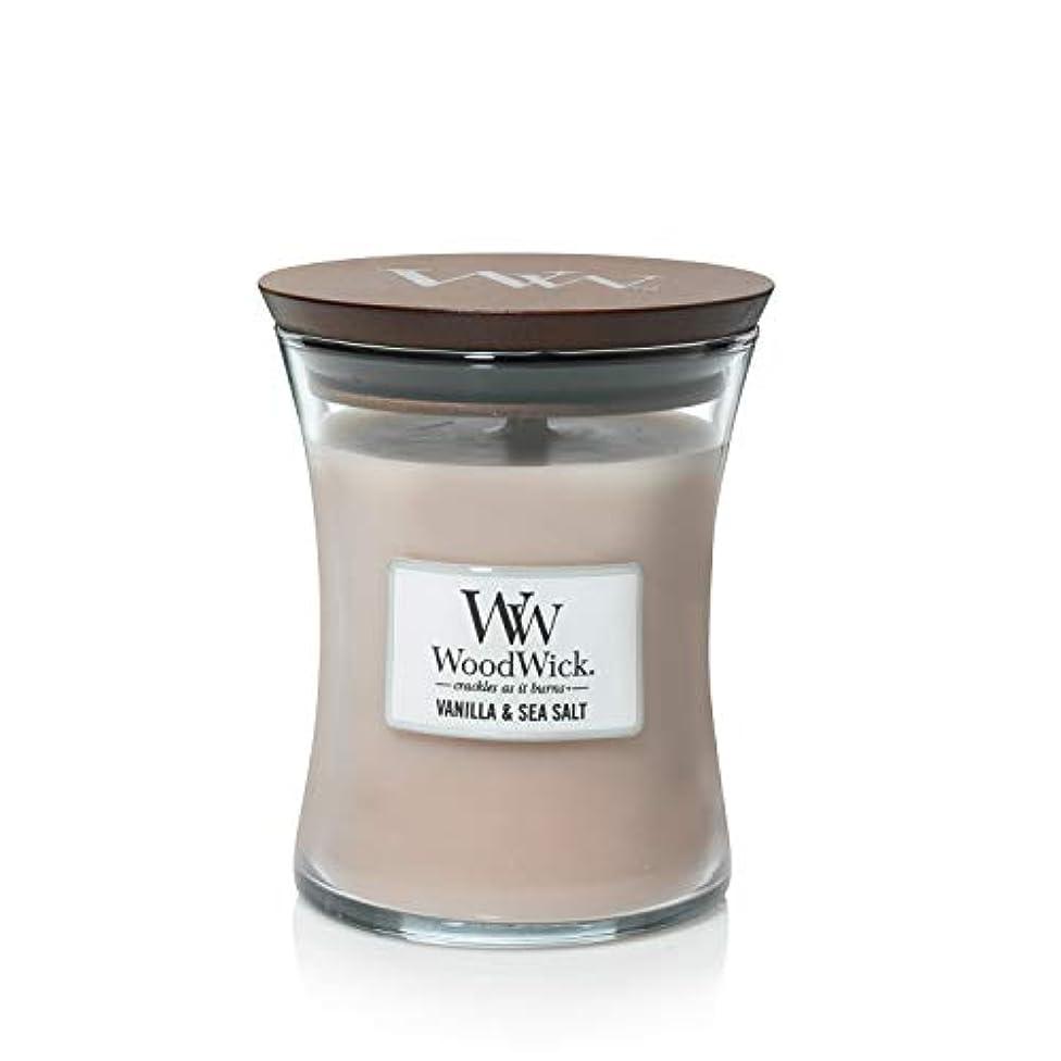 ドキュメンタリーミネラルロードハウスバニラSea Salt WoodWick 10 oz Medium砂時計Jar Candle Burns 100時間