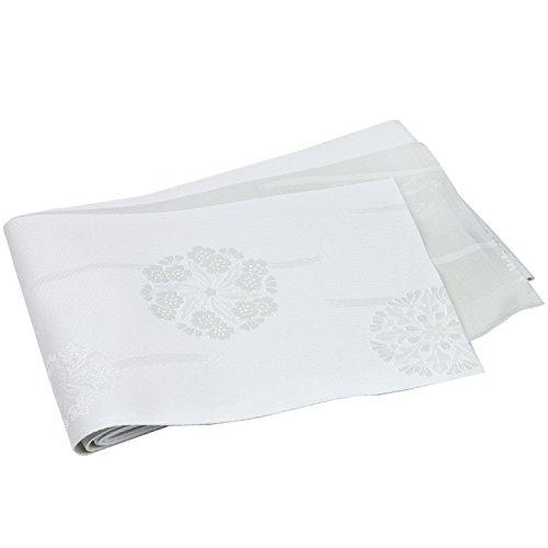 (キョウエツ)KYOETSU 日本製 半幅帯 浴衣帯 地紋/柄 お任せ (白グレー)