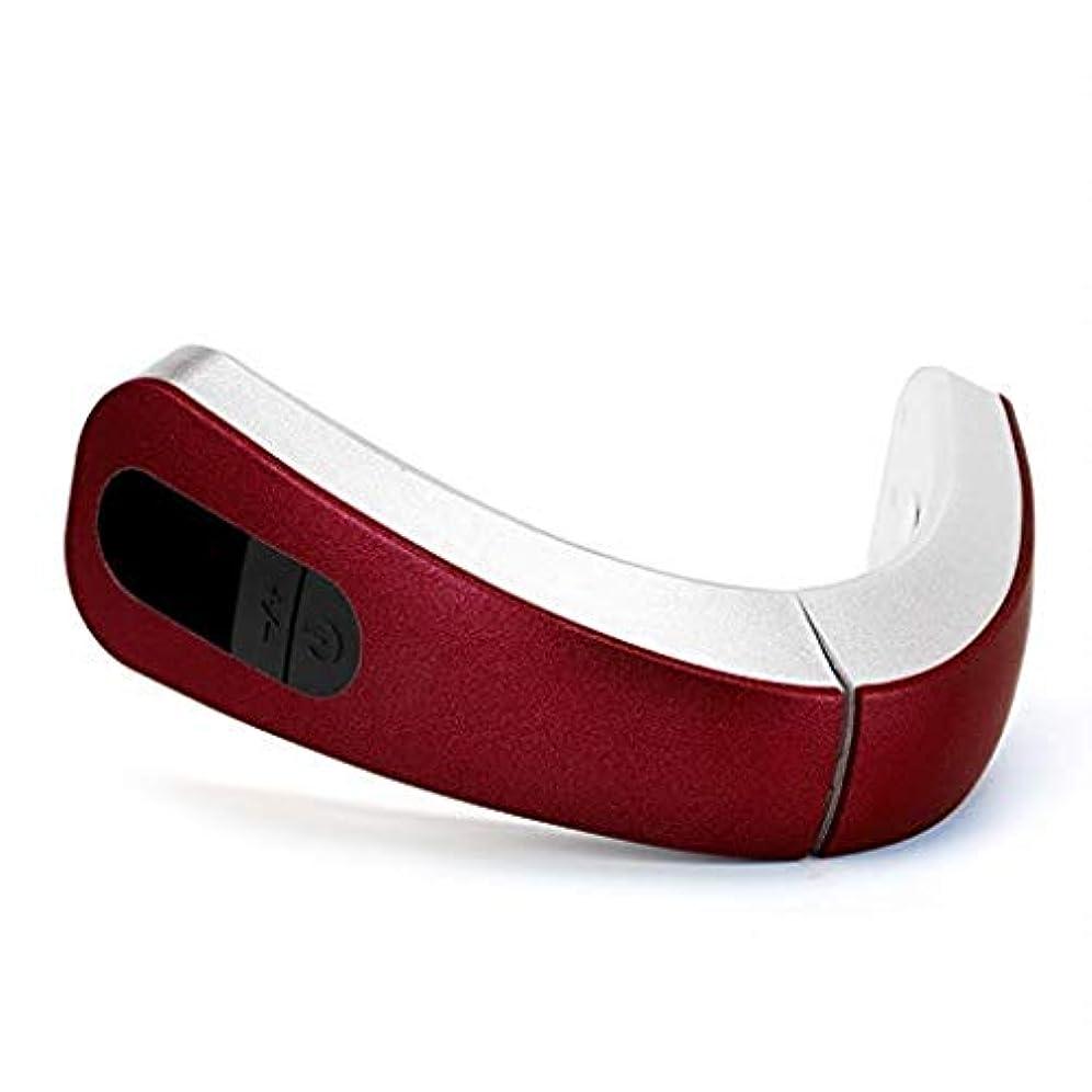 聖域体系的にコンクリートエレクトリックフェイスリフト美容機器、インテリジェント?マッサージ装置、Vフェイスは、咬筋/二重あご美容インストゥルメントを削除します (Color : 赤, Size : One size)