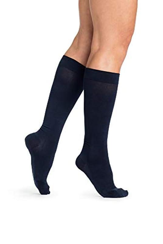 シンジケート九魔術Sigvaris Sea Island Cotton 151CC10 15-20mmHg Womens Closed Toe, Calf Socks - Navy, Size C
