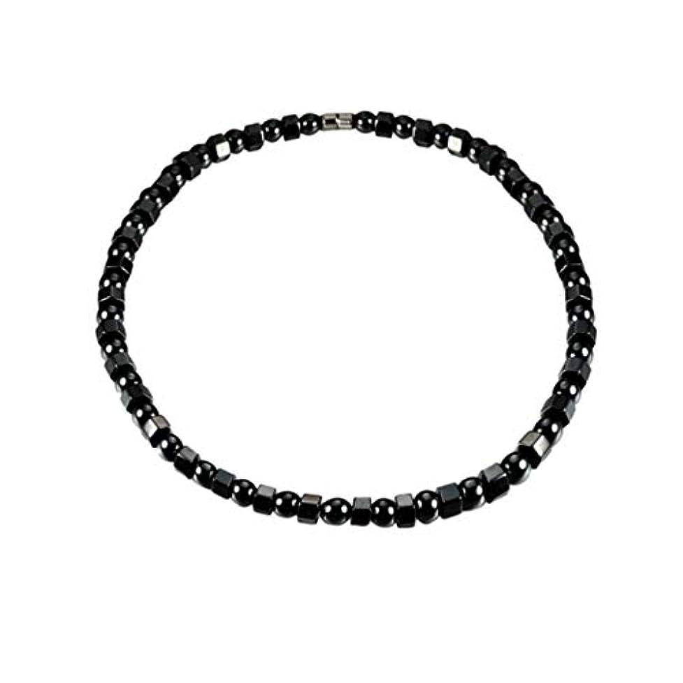 Healifty ヘマタイト磁気ブレスレット健康磁気ブレスレットビーズストーンアンクレットジュエリー用男性女性関節炎手根管