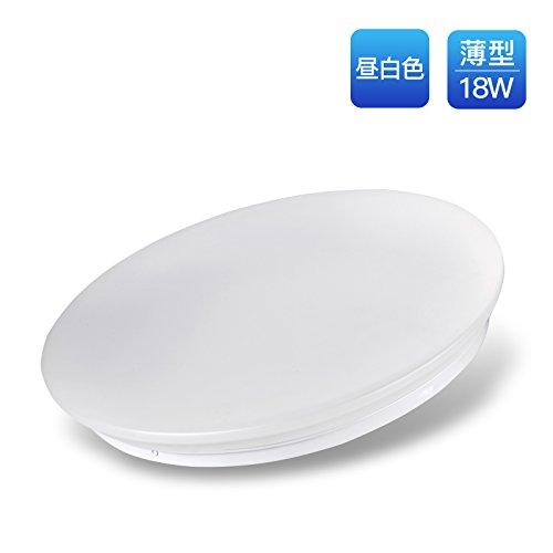 ISSoon LEDシーリングライト  昼白色 薄型 6畳~8畳適用 天井 新型LEDチープ 引っ掛け式 簡単取付 (18W)