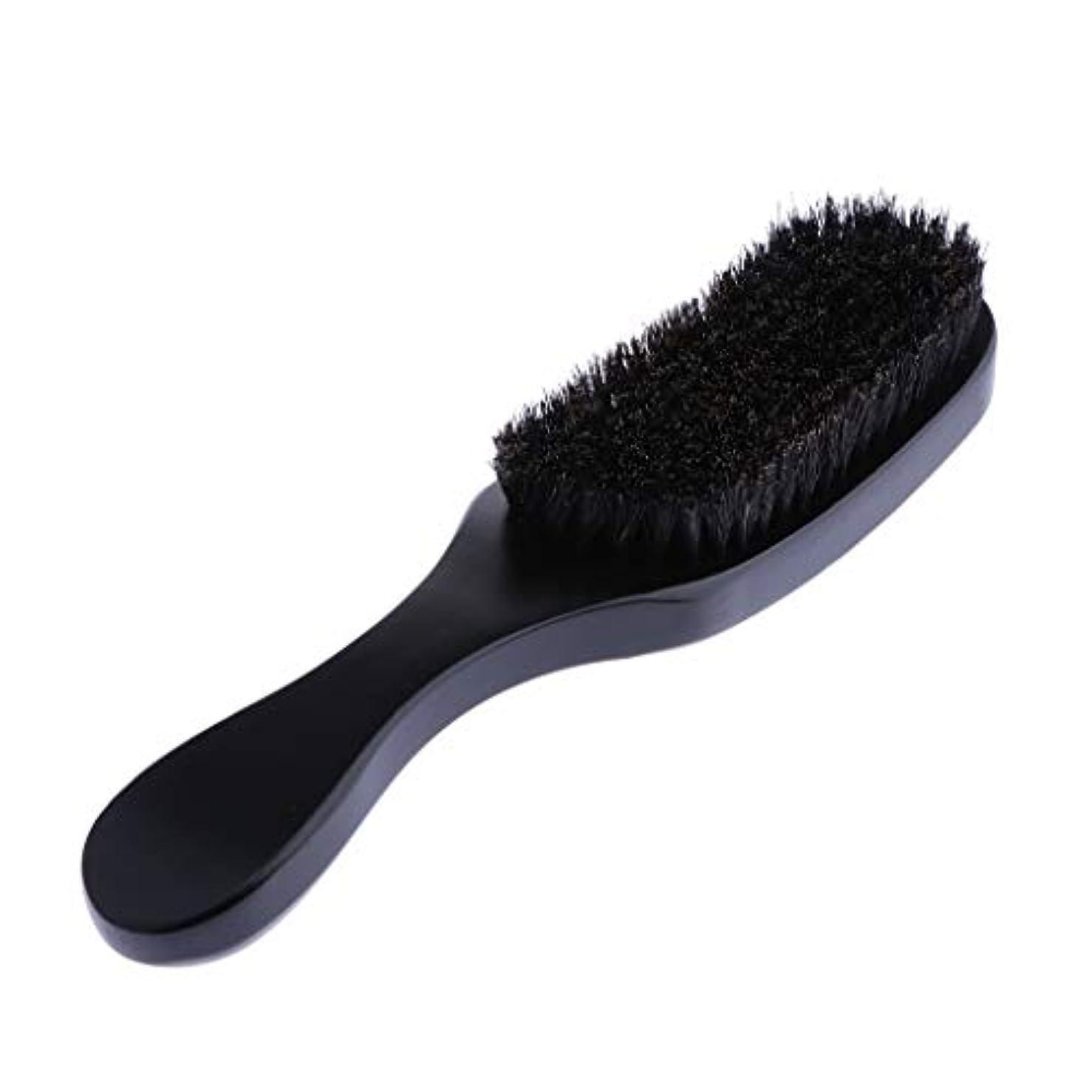 傾いた走るダウンひげと口ひげのシェーピング用の男性用ひげブラシ-すべてのひげバームとオイルで動作-色を選択 - ブラック