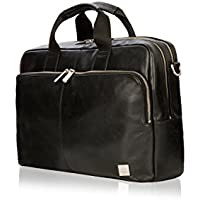 "Knomo Brompton Classic Amesbury, 15"" Leather Laptop Briefcase, with Suitcase Slip Pocket and RFID Pocket Brown"""