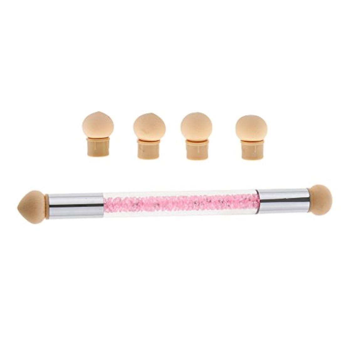 絶妙いいね懐疑論Perfk ネイルアート スポンジブラシ ドットペン 4個 交換用 スポンジヘッド ネイルブラシ UVゲル DIY アクリル爪 2色選べる - ピンク
