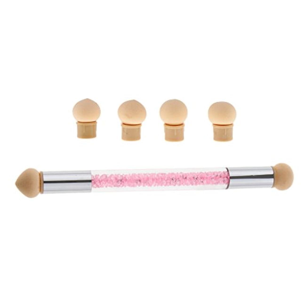 第三密Perfk ネイルアート スポンジブラシ ドットペン 4個 交換用 スポンジヘッド ネイルブラシ UVゲル DIY アクリル爪 2色選べる - ピンク
