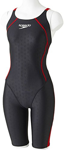 Speedo(スピード)レディース競泳水着ハーフスーツフレックスシグマウィメンズセミオープンバックニースキン7SD47H5S2KR(ブラック×レッド)M