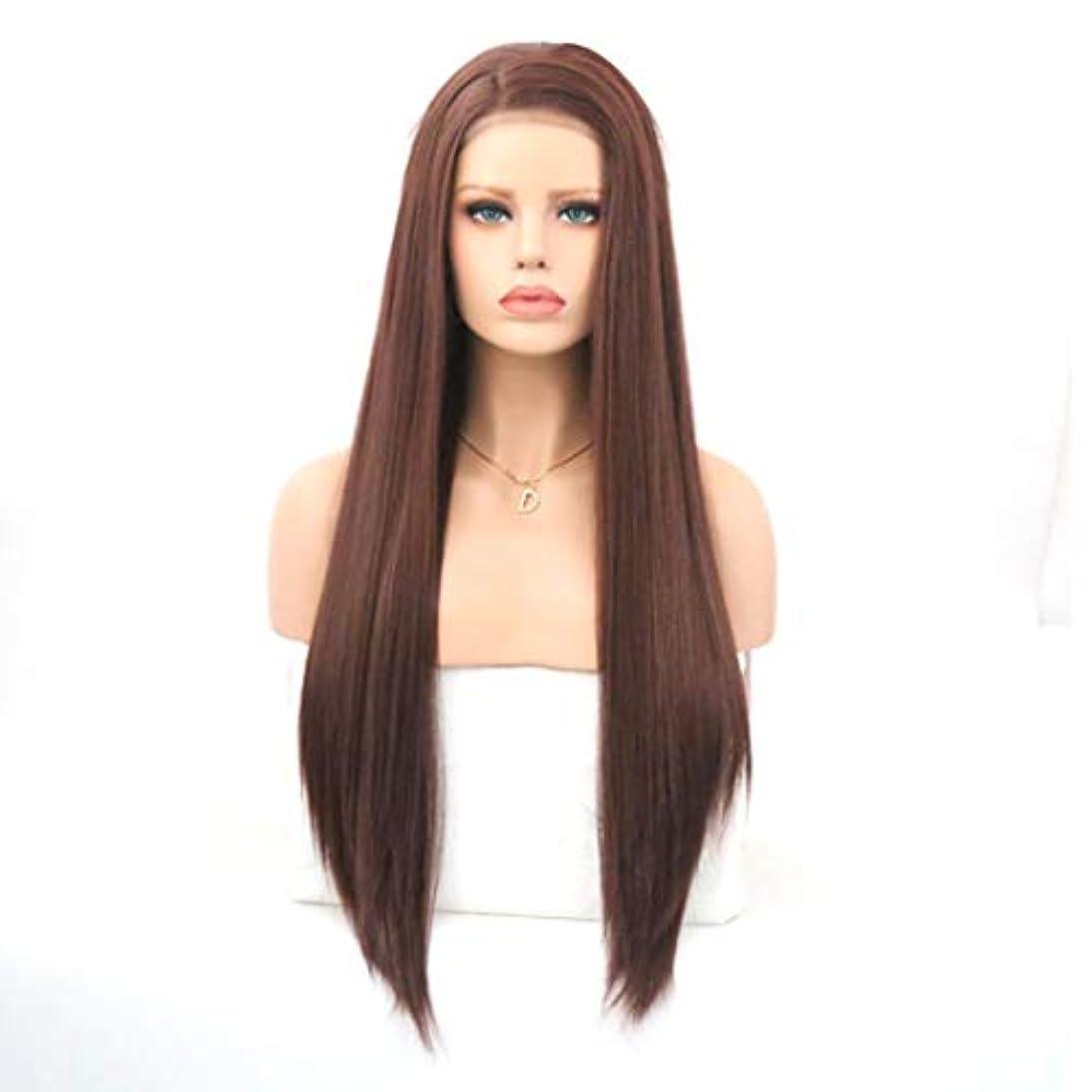 防止夕暮れ明快Kerwinner 茶色のフロントレース化学繊維かつらヘッドギア高温シルクロングストレートウィッグ女性用 (Size : 22 inches)