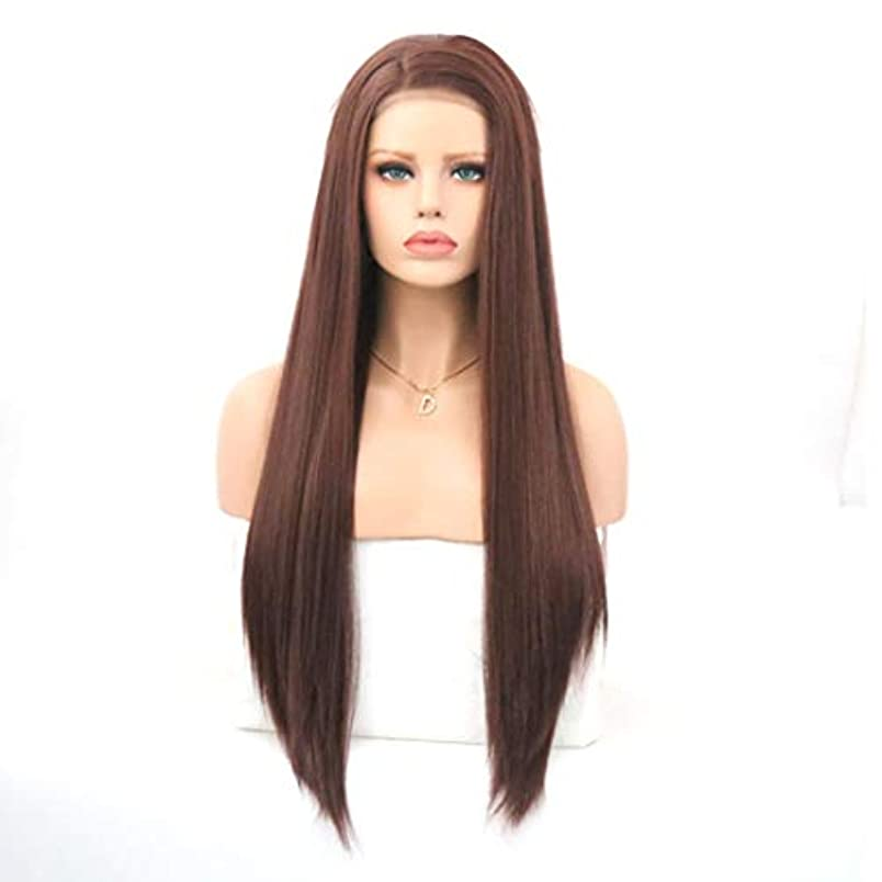 郵便屋さん繊維簡略化するKerwinner 茶色のフロントレース化学繊維かつらヘッドギア高温シルクロングストレートウィッグ女性用 (Size : 22 inches)