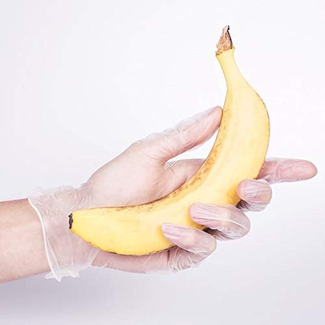 ご注意平和レルムニトリルゴム手袋 使い捨て手袋ポリ塩化ビニールの透明なケイタリングの美のゴム製薄い世帯の手袋、100 使い捨て手袋 (Color : Lengthen clear, Size : M)