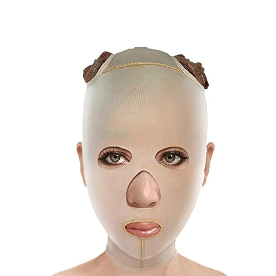 抑止する掃く習字チンストラップ、フェイスリフティング、アンチエイジングフェイシャル包帯、フェイシャル減量マスク、ファーミングマスク、フェイシャルリフティングアーティファクト(サイズ:S),XL