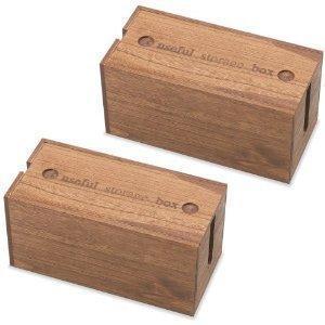 桐ケーブルボックス ミニ 2個セット ブラウン 幅25cm×...