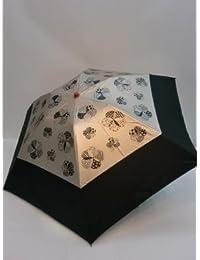 ノーブランド品 晴雨兼用 折畳傘 婦人 UVケア?カラーコーティングプリント無地切継ミニ折傘