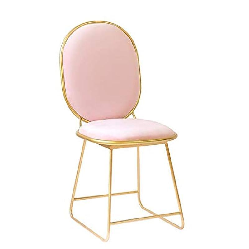 機関細部性別化粧椅子北欧レストランチェアアイアンダイニングチェアネットレッドホテルゴールデンチェアクリエイティブチェアベッドルームリビングルームメタルドレッシングチェア,Pink,40*36*88CM