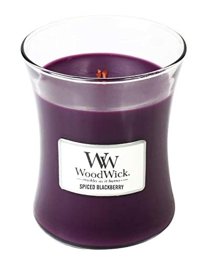 ハンドブックキャスト新着Spiced Blackberry – WoodWick 10oz Medium Jar Candle Burns 100時間