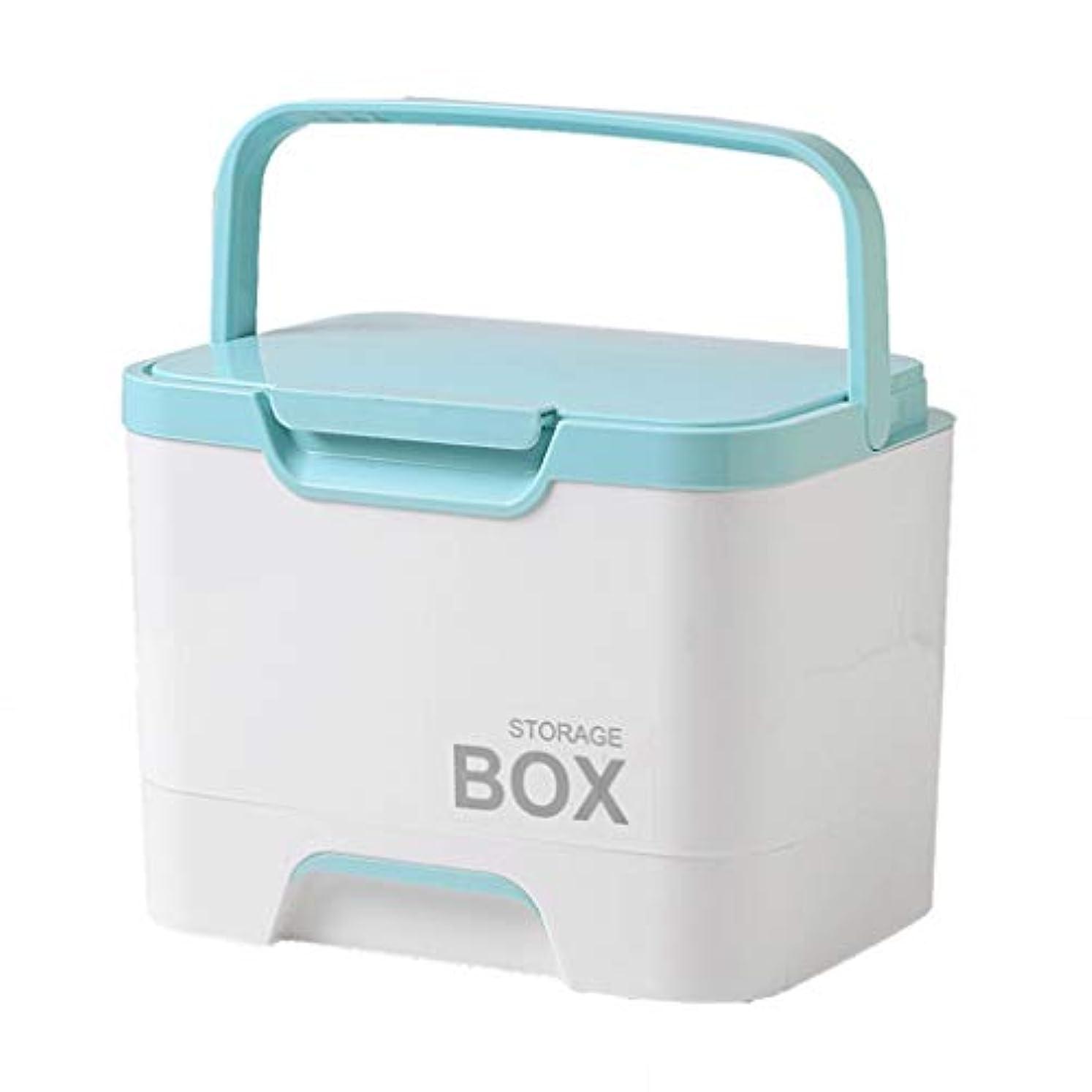 ヒップ頑丈マッサージピルボックスPP 25 * 20 * 22 cm家庭用薬ボックス薬収納ボックス (色 : 青)