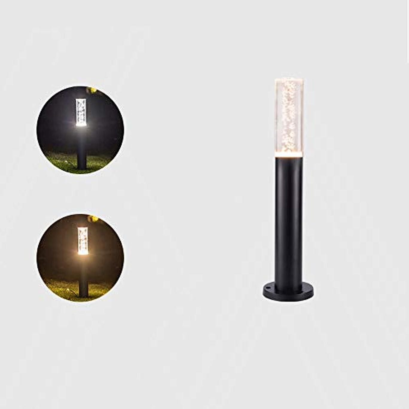発見アラブサラボ視線Pinjeer 現代のクリエイティブラウンドled 2色調光アクリルカラムランプアメリカの屋外ip44防水金属アルミポストライト芝生庭中庭ヴィラ装飾柱ライト (Color : Black, サイズ : Height 50cm)