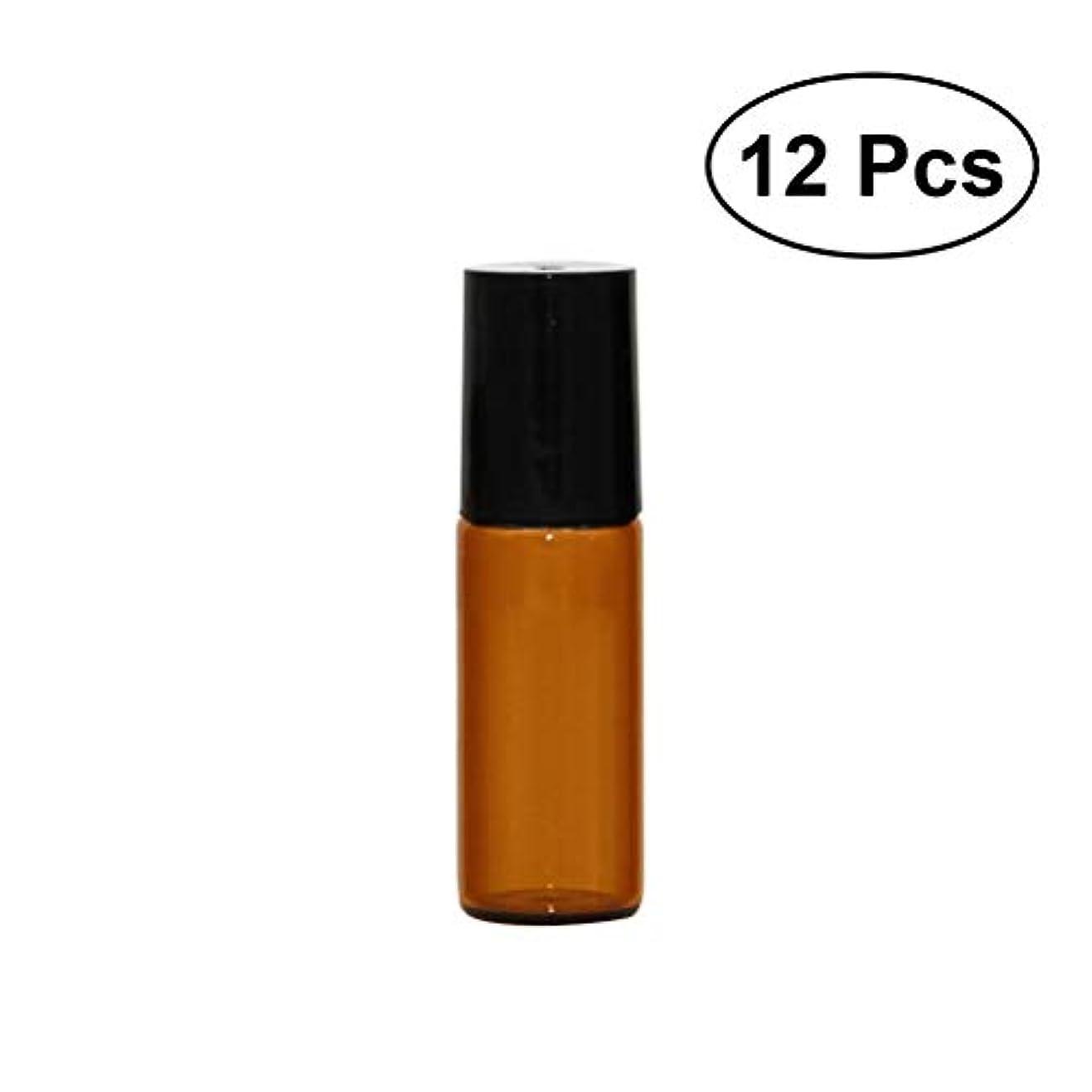 望む分数ツール12本セット 5ml ローオンボトル イプ 茶色 香水 精油 遮光瓶 ガラスロールタ小分け用 アロマボトル 保存容器