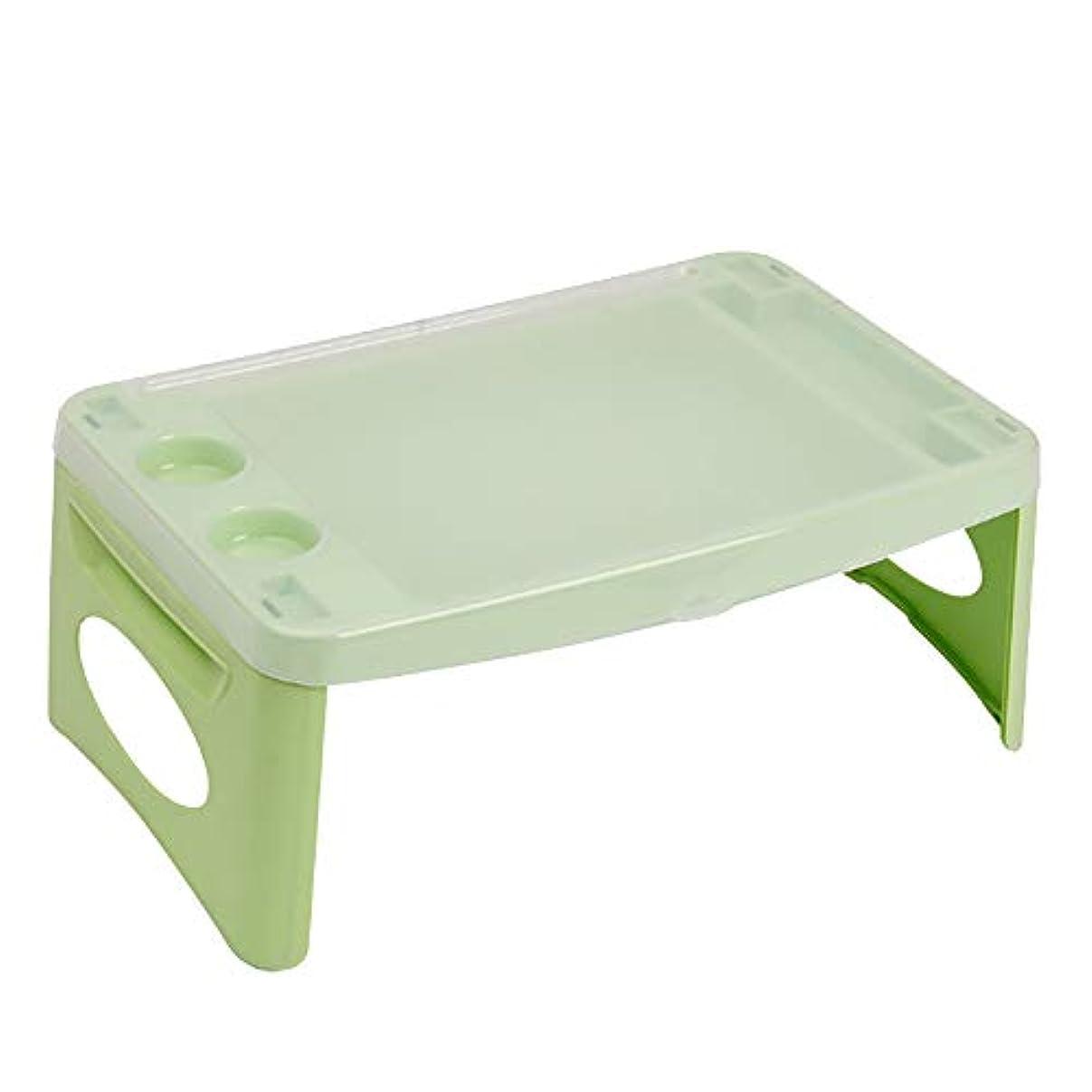 カタログ輝く極貧折り畳みテーブルプラスチック多機能折り畳みコンピュータテーブル怠惰な学習小さな机のテーブルの土地のノートブックテーブルライトグリーン 47 * 28.8 * 18.8cm
