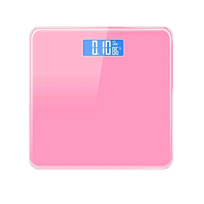 XF 体重計?体脂肪計 電子体重計 - インテリジェント精密電子体重計ブルースクリーンナイトビジョン室内温度体重減少体重計女性寮 測定器 (色 : Pink)
