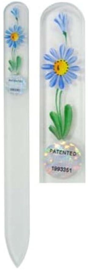 扇動するデータベース利益Blazek(ブラジェク) ガラス製爪やすり ハンドペイントMサイズ 140mm チェコ製 デイジー 82SYP106