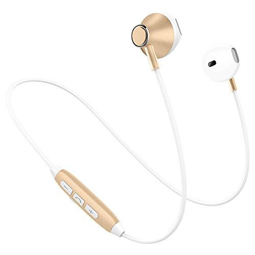 Picun H2 Bluetooth イヤホン 高音質 スマホ二台接続支持 IPX4防水防汗 ノイズキャンセリング マグネット搭載 イヤフォン リモコン マイク付き ハンズフリー通話 ブルートゥース イヤホン Bluetooth4.1 ワイヤレス イヤホン Phone Android対応 (ホワイトゴールド)