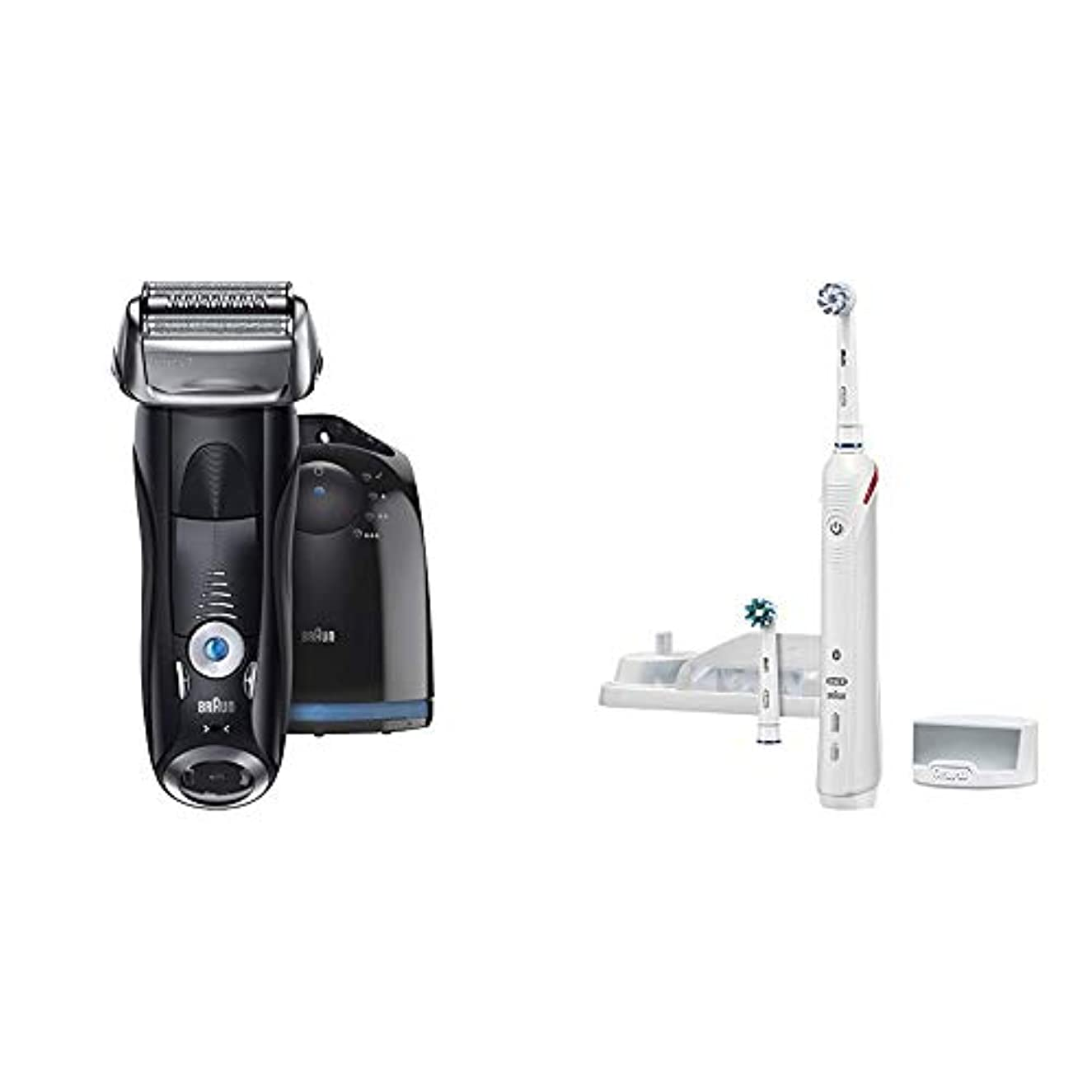 指パフ不調和【Amazon.co.jp 限定】ブラウン メンズ電気シェーバー シリーズ7 7760cc 4カットシステム 洗浄機付 水洗い可 & ブラウン オーラルB 電動歯ブラシ スマート4000 D6015253P