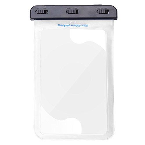 ATiC 8インチ以下のタブレット用 ストラップ付き 透明防水ケース 防水保護等級 IPx8 WHITE