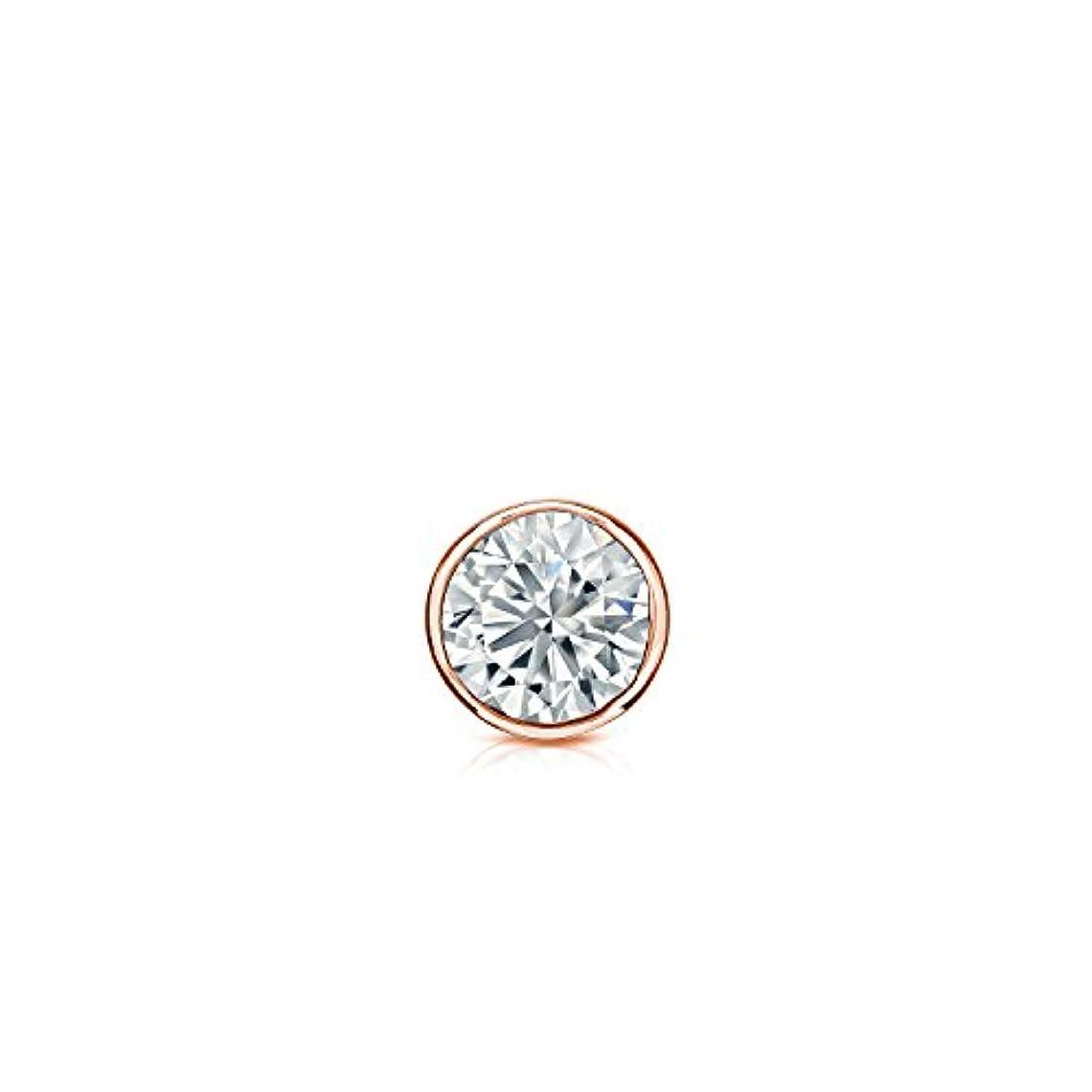 アラブ自分自身緊張14 Kゴールドbezel-setラウンドダイヤモンドシングルスタッドイヤリング( 0.08ct、Good、si1-si2 ) screw-back