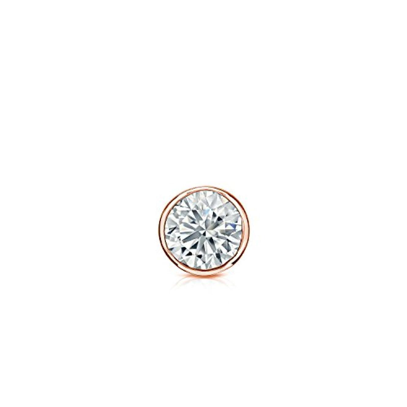 収縮突き刺すコントロール14 Kゴールドbezel-setラウンドダイヤモンドシングルスタッドイヤリング( 0.08ct、ホワイト、vs2screw-back