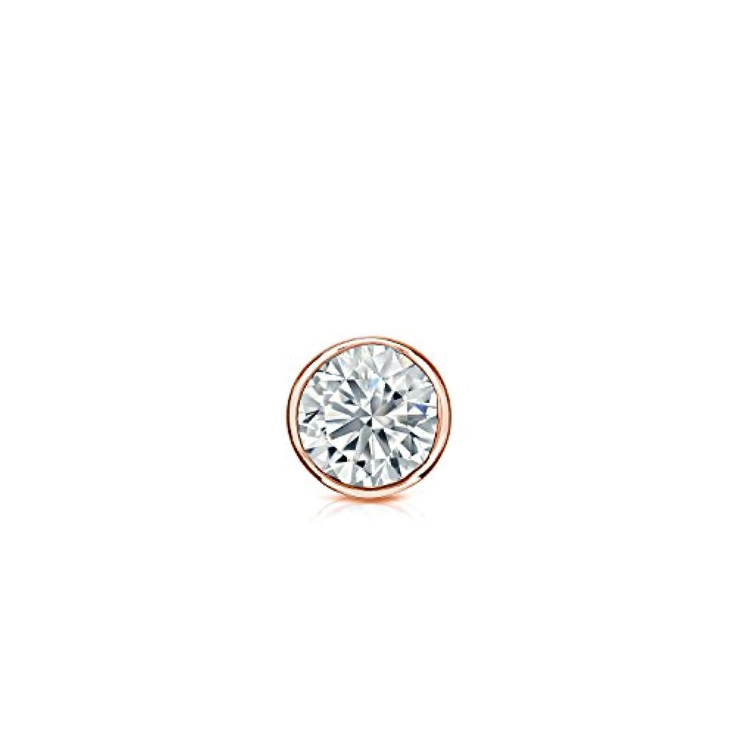 織機名詞品10 Kゴールドbezel-setラウンドダイヤモンドシングルスタッドイヤリング( 0.08ct、ホワイト、i2 - i3 ) screw-back