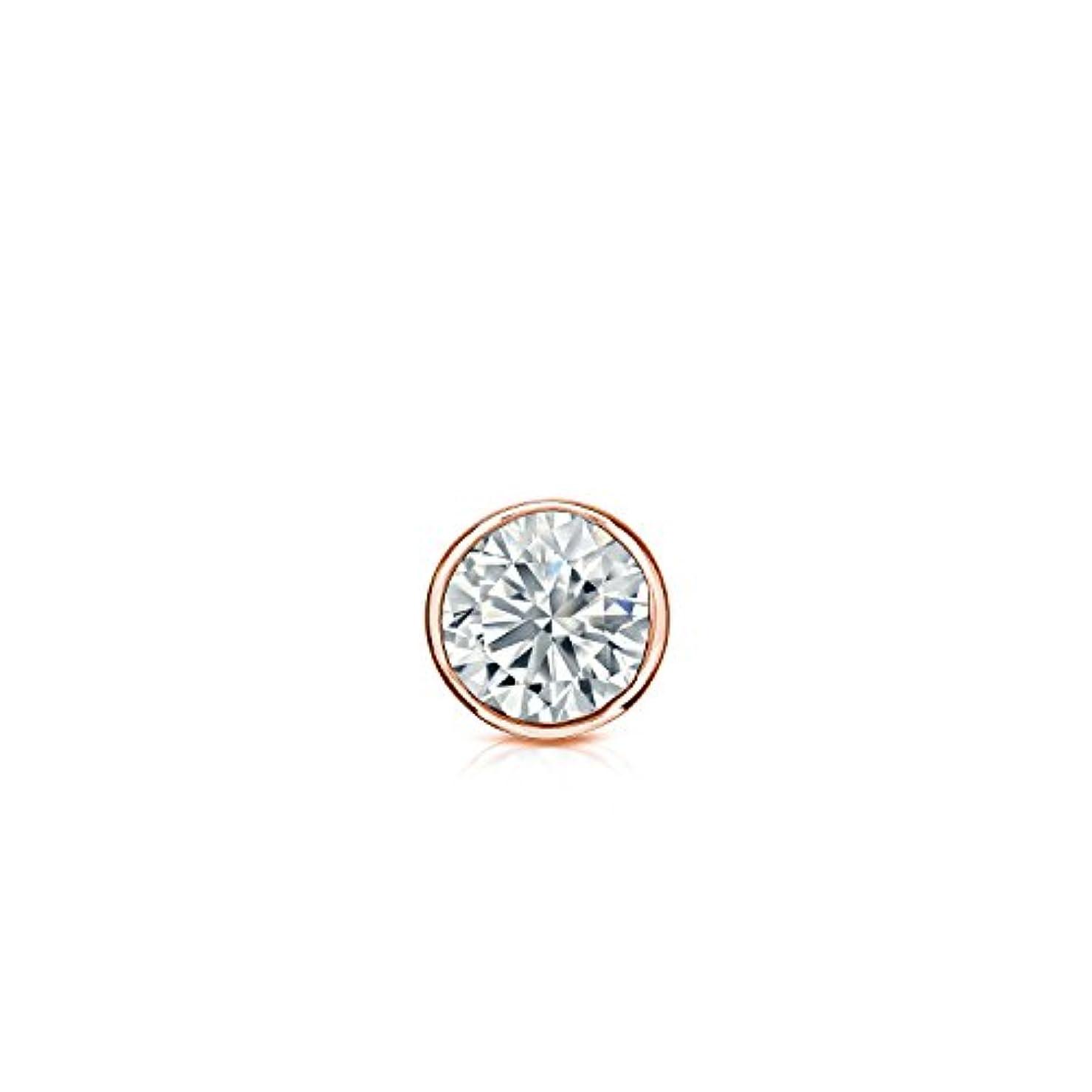 犠牲知人密度14 Kゴールドbezel-setラウンドダイヤモンドシングルスタッドイヤリング( 0.08ct、Oホワイト、i1 - i2 ) push-back