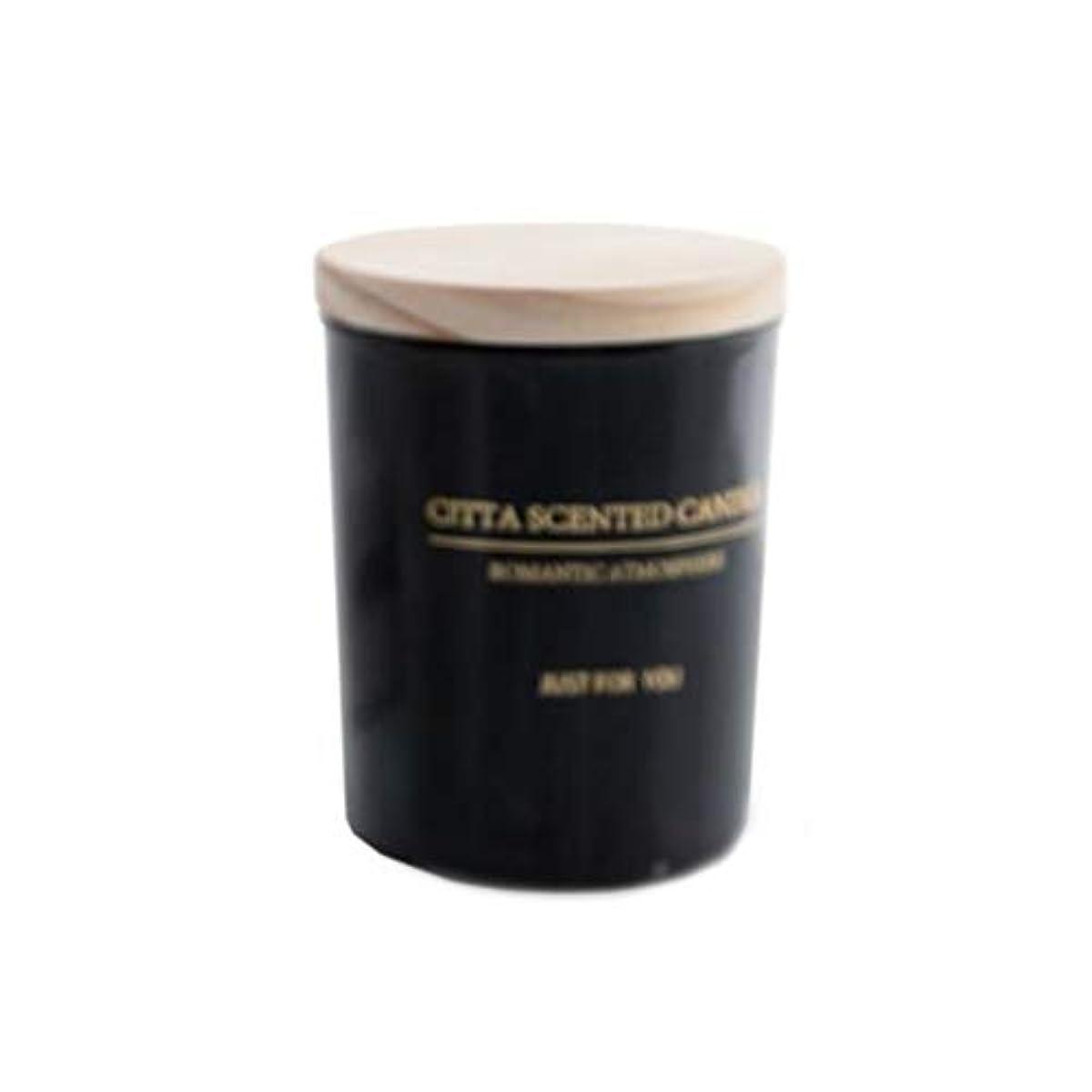 抽選スペイン閃光キャンドル、木製カバーガラス香りのキャンドル、白黒シンプル大容量環境に優しい無煙大豆キャンドル (Color : Black)