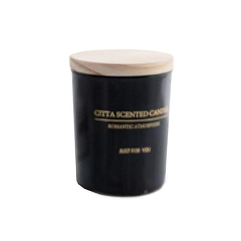 ハイブリッド韻苦味キャンドル、木製カバーガラス香りのキャンドル、白黒シンプル大容量環境に優しい無煙大豆キャンドル (Color : Black)
