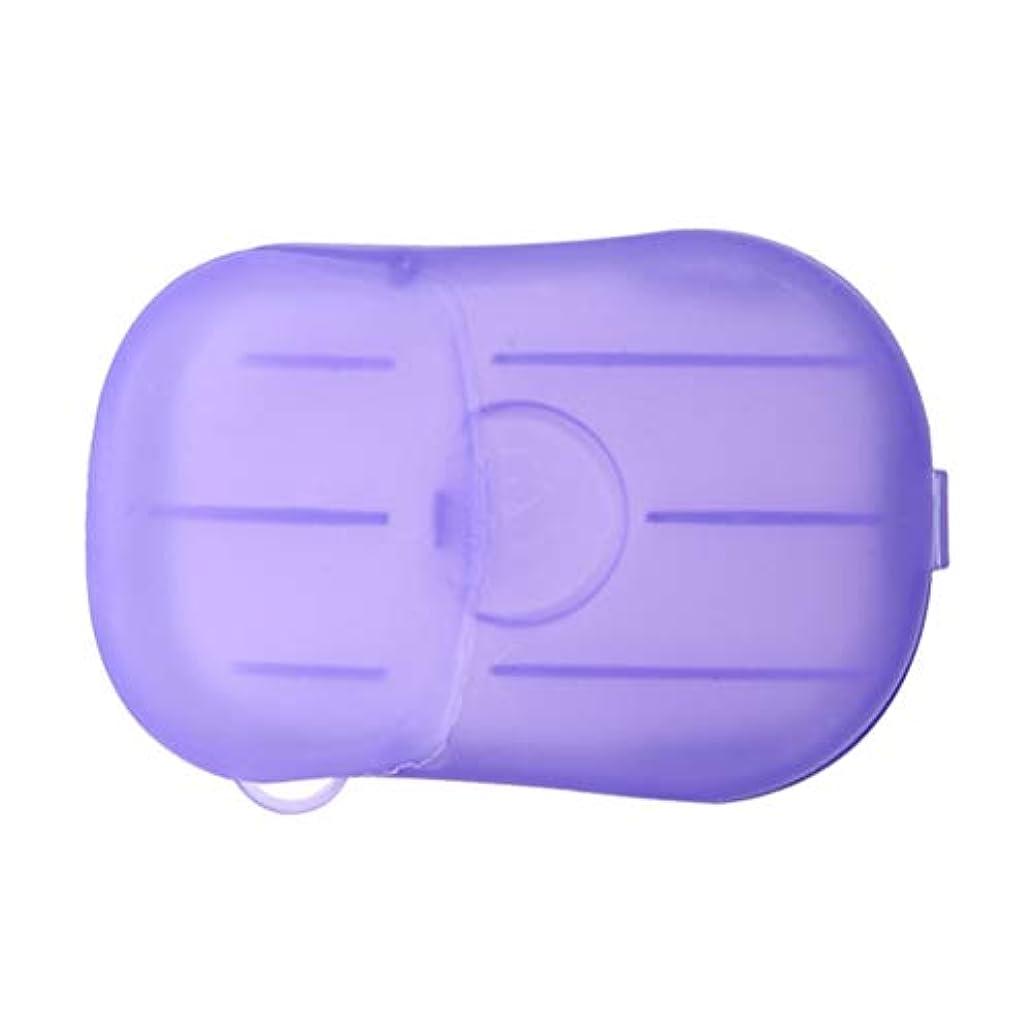 であること郵便スリンクLIOOBO 20ピース石鹸フレーク使い捨てクリーニングペーパーポータブルシャワー用品手洗い石鹸シーツ付きトラベルキャンプハイキング(パープル)