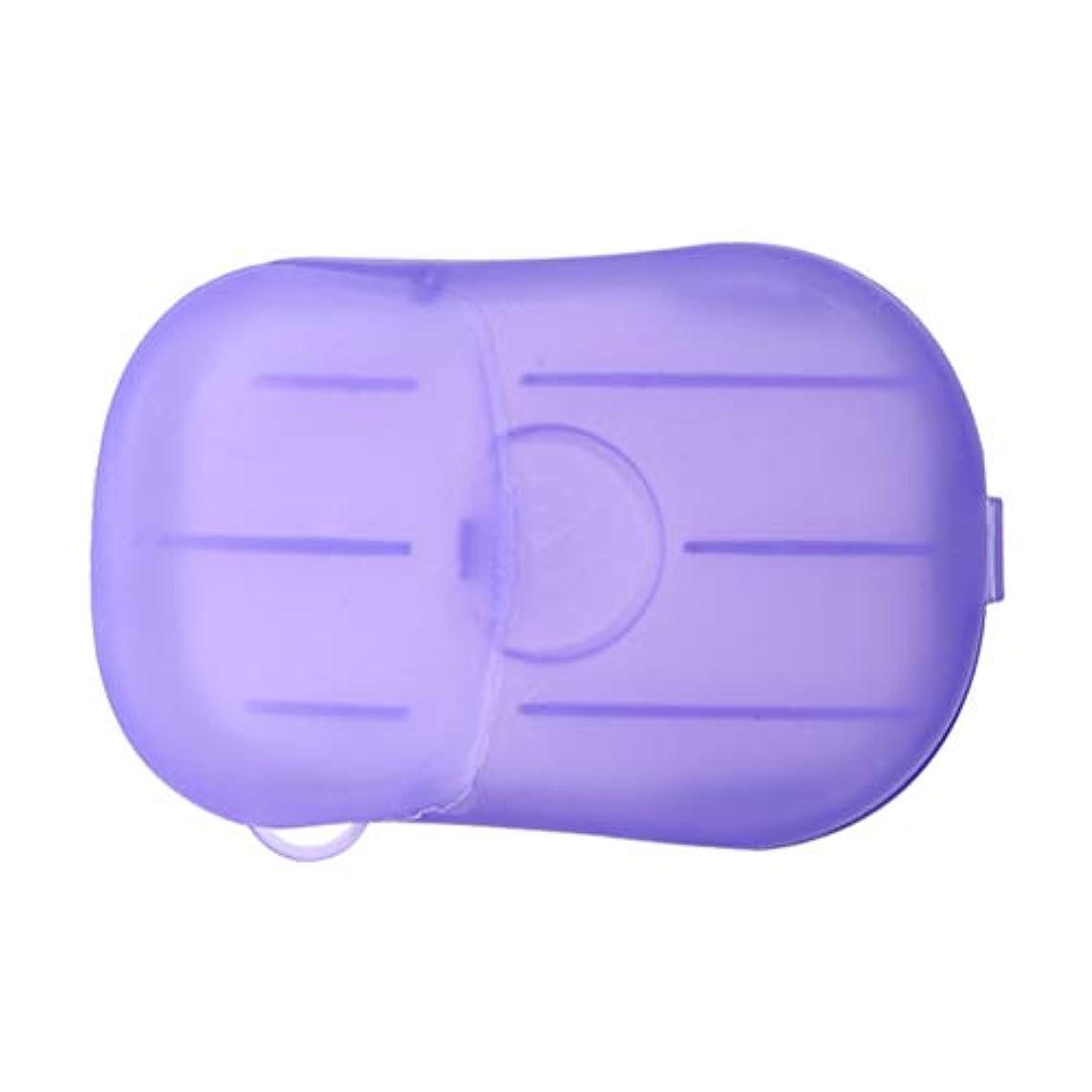 LIOOBO 20ピース石鹸フレーク使い捨てクリーニングペーパーポータブルシャワー用品手洗い石鹸シーツ付きトラベルキャンプハイキング(パープル)