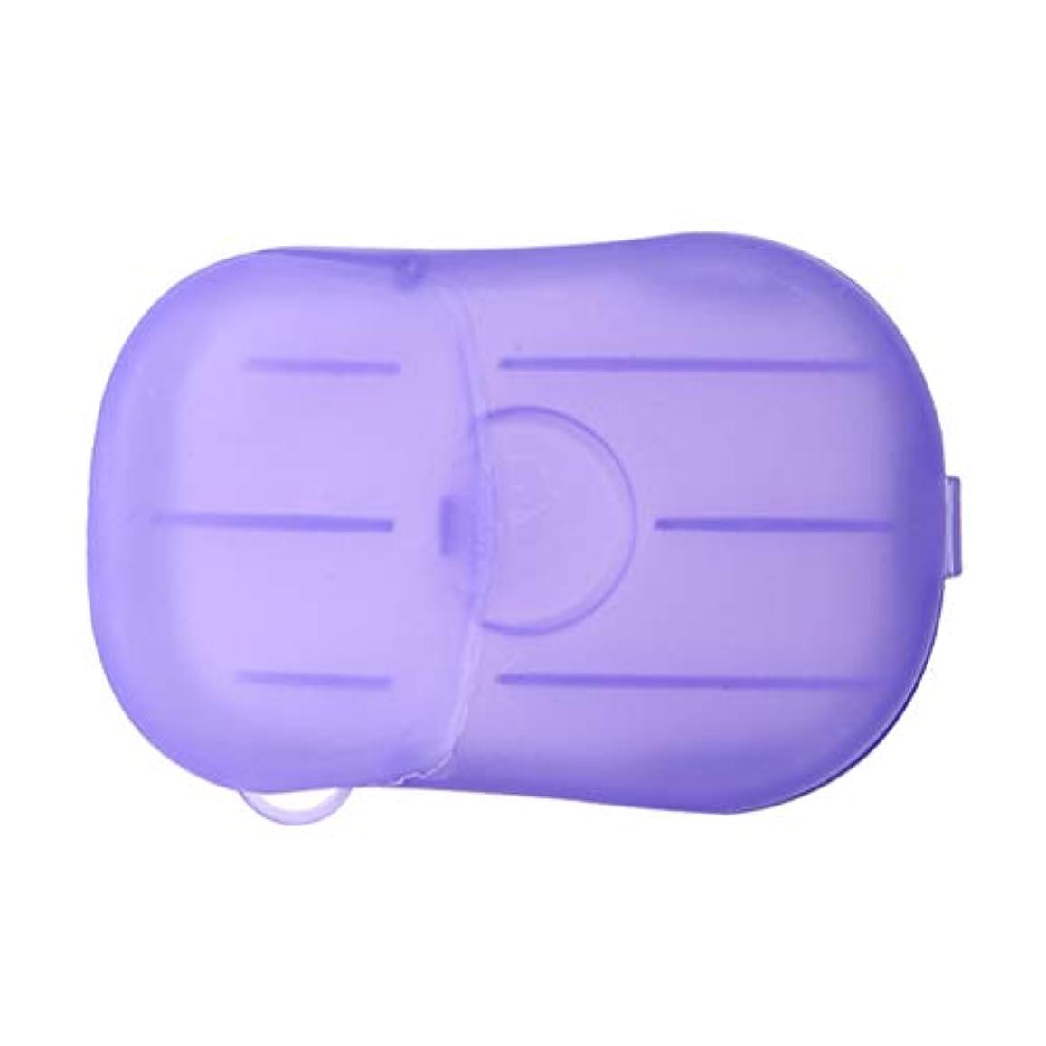 発見国旗処方LIOOBO 20ピース石鹸フレーク使い捨てクリーニングペーパーポータブルシャワー用品手洗い石鹸シーツ付きトラベルキャンプハイキング(パープル)